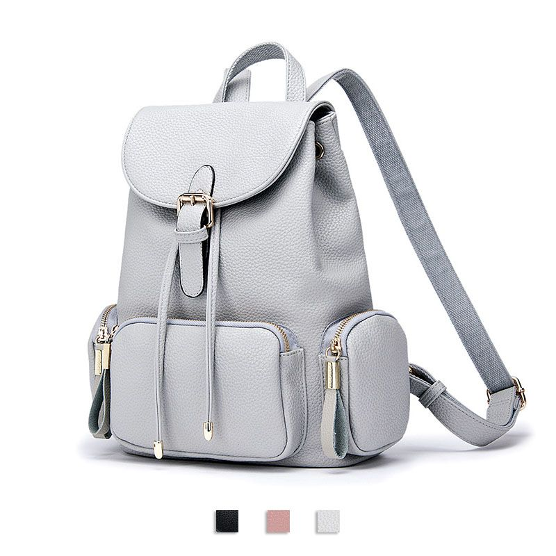 1f2e663a781 DooDoo 2017 New School Bags PU Leather Ladies Backpack Pocket ...