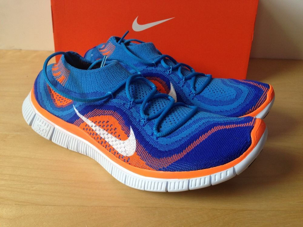 cfd4858f9 Nike FREE Flyknit + 5.0 Running Shoes Mens 9 615805 418 Blue Orange ...