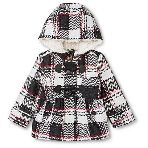 Weather Tamer Infant Toddler Girls' Plaid Toggle Peacoat Black ...