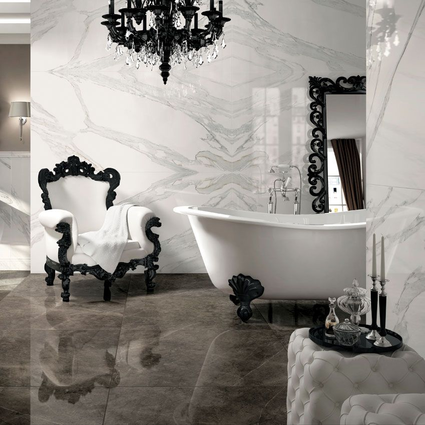 We love mirrored marble look tiles Such a trendy way of laying
