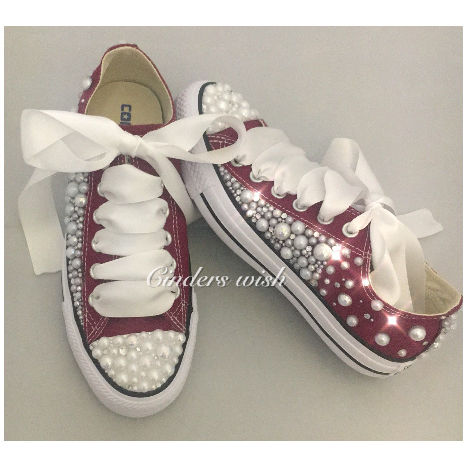 96bc8f32a6c723 Adults White Converse High Tops with Pink Swarovski crystal toes and ribbon  laces