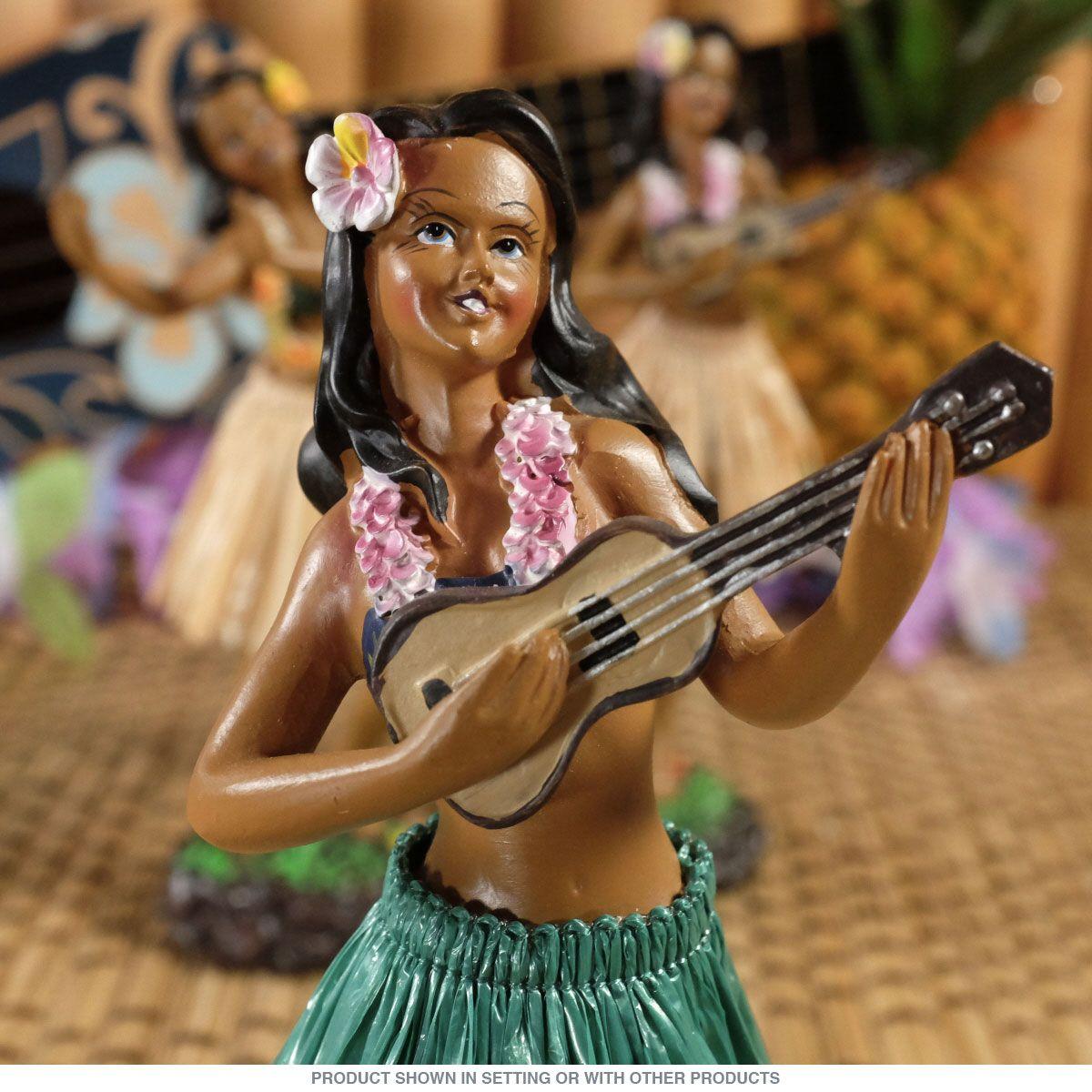 Hawaiian Ukulele Dashboard Hula Doll Tan Skirt Vintage Style Tiki Decor 2 x 7