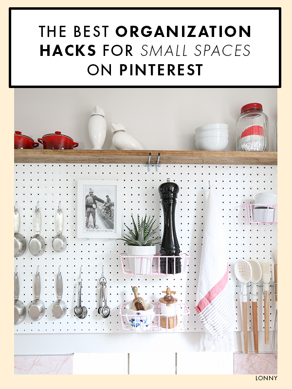 The 25 Best Organization Hacks For Small Spaces On Pinterest Pegboard Kitchen White Pegboard Small Kitchen Organization