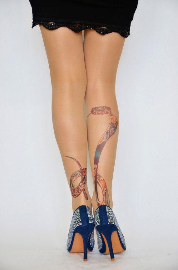 b1da6d0fb15b4 Snake Print Tattoo Tights , Hand Printed Tights , Snake Printed Women's  Pantyhose , tattoo socks ,