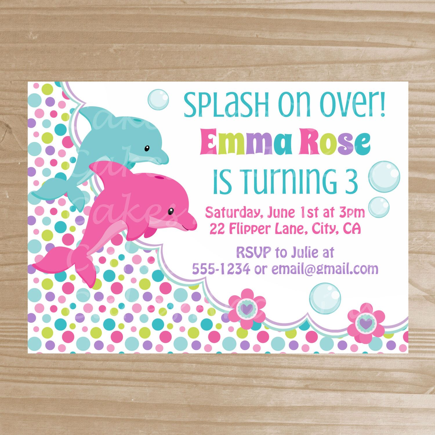 Items Similar To PRINTABLE Pink Dolphin Birthday Party Invitation And Purple You Print On Etsy