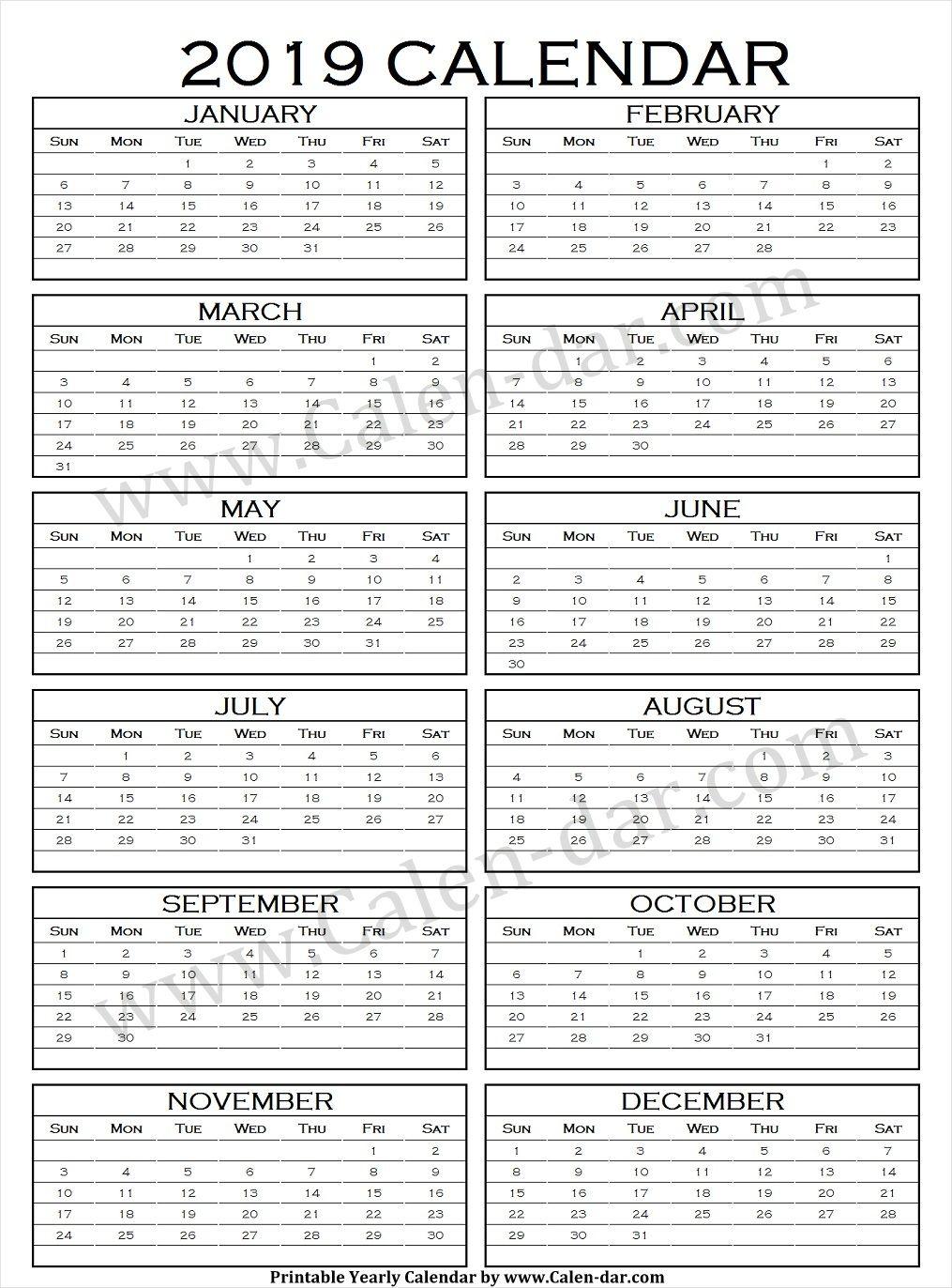 Calendario Ebau 2020 Madrid.Calendar 2019 Vertical Printable Yearly Calendar 2019