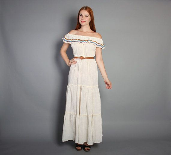 Vintage 70s PEASANT Maxi DRESS Ivory Cotton Gauze Off