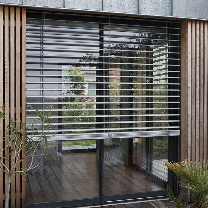 Brise-soleil orientable à lacettes Franciaflex Tiny houses - store occultant porte fenetre