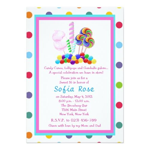 Candy Birthday Party Invitations Candyland Candy Theme Sweet 16