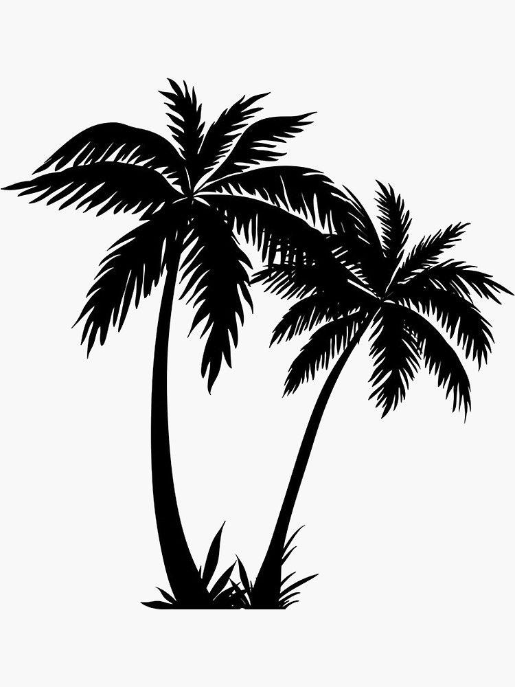 Palm Tree Clipart Black And White : clipart, black, white, Black, Sticker', Sticker, Livpaigedesigns, Silhouette,