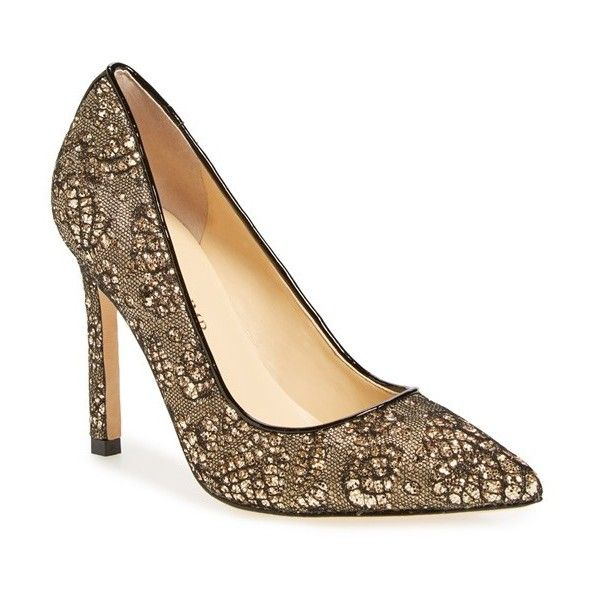 Women's Ivanka Trump 'Carra' Pointy Toe Pump (£105) ❤ liked on Polyvore featuring shoes, pumps, sequined shoes, pointy-toe pumps, pointed toe pumps, patent pointed toe pumps and polish shoes