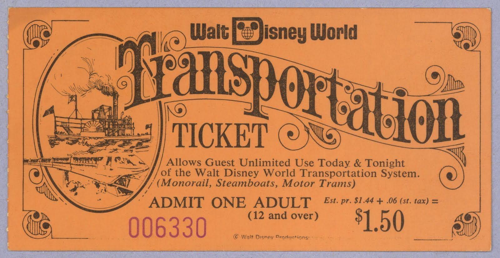 Vintage Walt Disney World Transportation Ticket DisneyWorld Ticketbook Studio2719