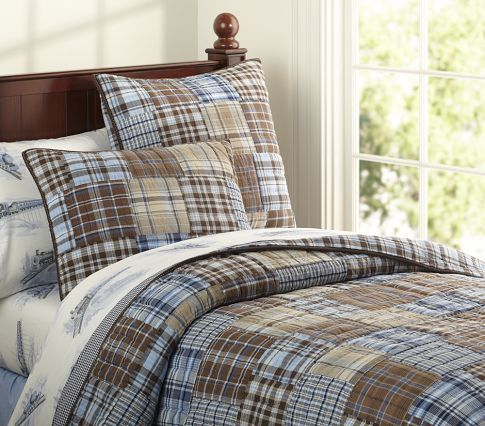 For My Boys Bedrooms Love The Plaid Quilt From Pottery