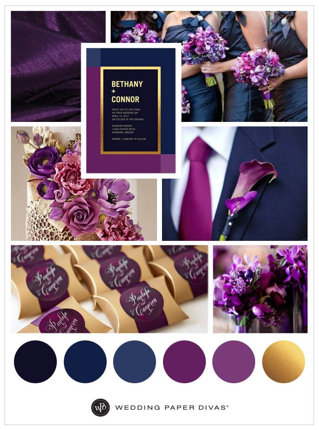 Navy Eggplant And Gold Wedding Google Search Wedding