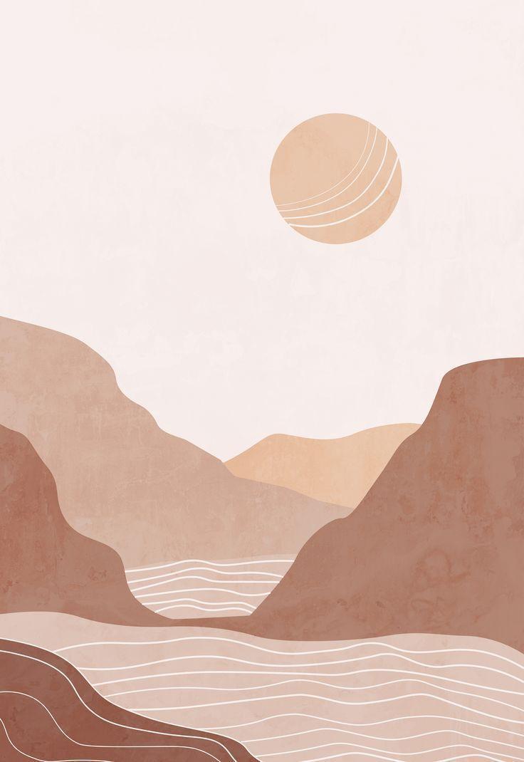 Abstract landscape terracotta bohemian printable wall art | Etsy