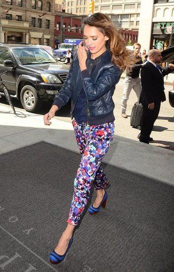 80e0cd1bb6833 Jessica Alba: Jessica Alba wore a floral pant and leather jacket ensemble  while out in New York.