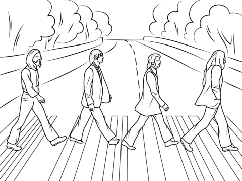 The Beatles Abbey Road cover photo Coloring page from Pop ...