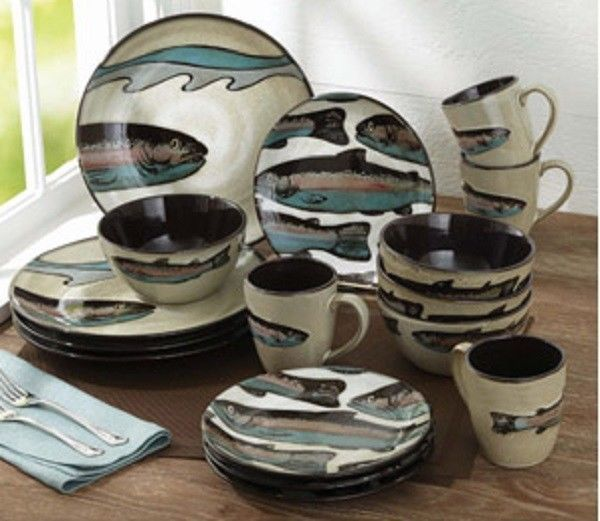 16 Or 32 Pc Trout Lodge Dinnerware Set Plates Bowls Mugs Fishing Dishes  Cabin #Lodge