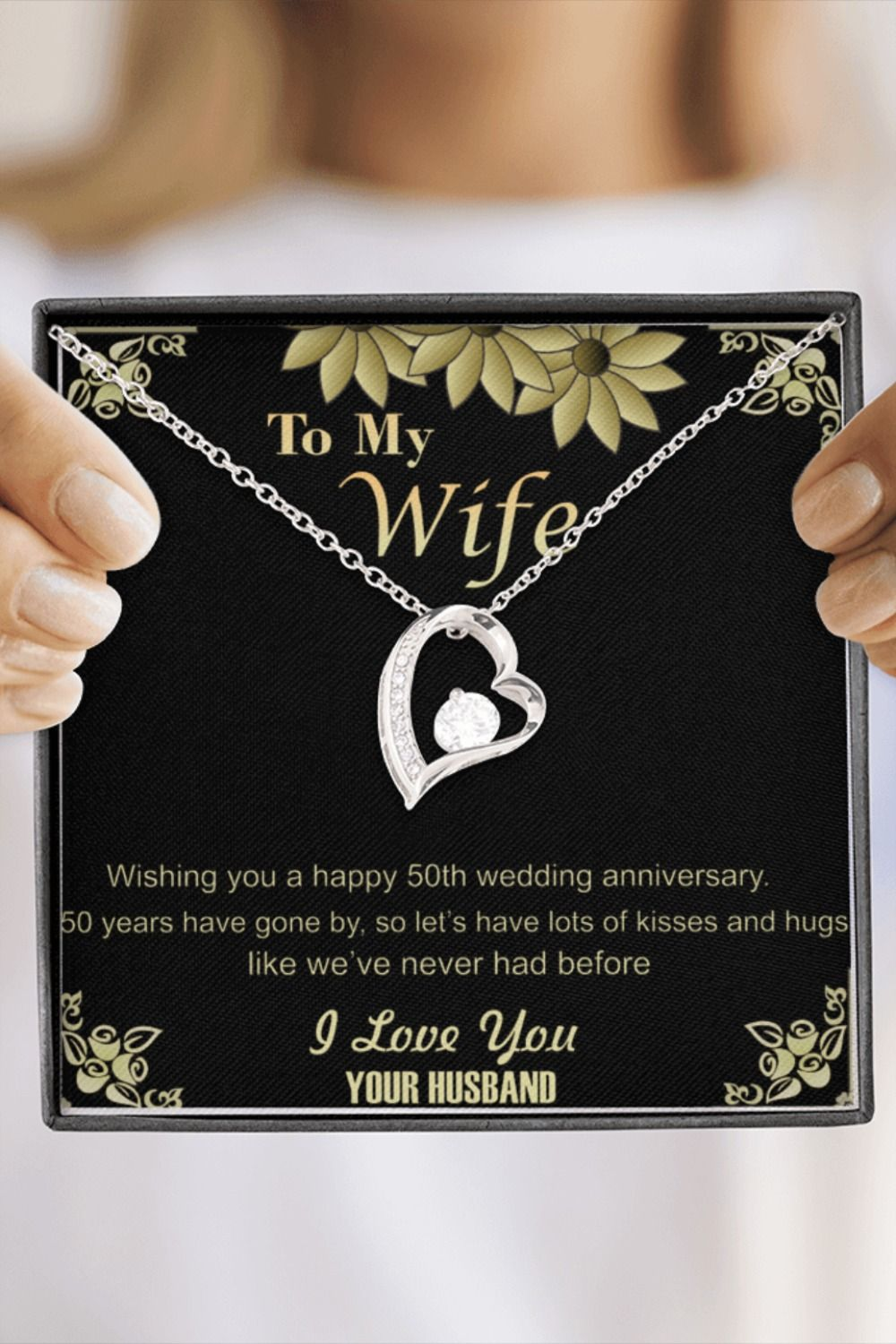 50th Golden Wedding Anniversary Pendant Necklace Gift For Wife Her Gold Present Jewelry Ideas In 2020 50th Wedding Anniversary 50 Golden Wedding Anniversary Marriage Anniversary Gifts