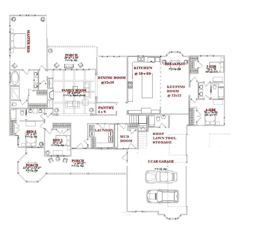 wonderful one story house plans with large kitchens #3: 17 Best 1000 images about HOUSE PLANS on Pinterest Architectural