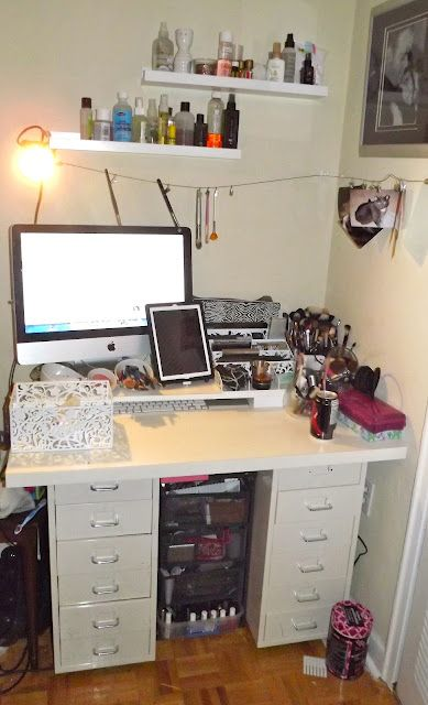 vanity and work desk combo. my ikea helmer vanity desk combo  I put all the parts together to create this