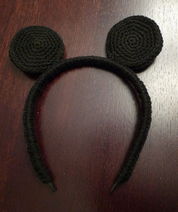 DIY Headband Crochet Mickey Mouse Ears | Crochet | Pinterest