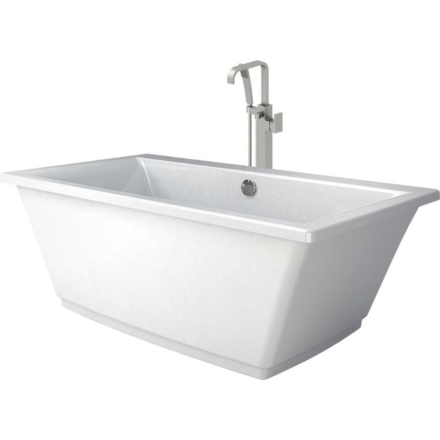 Jacuzzi Fia White Acrylic Rectangular Freestanding Bathtub With ...