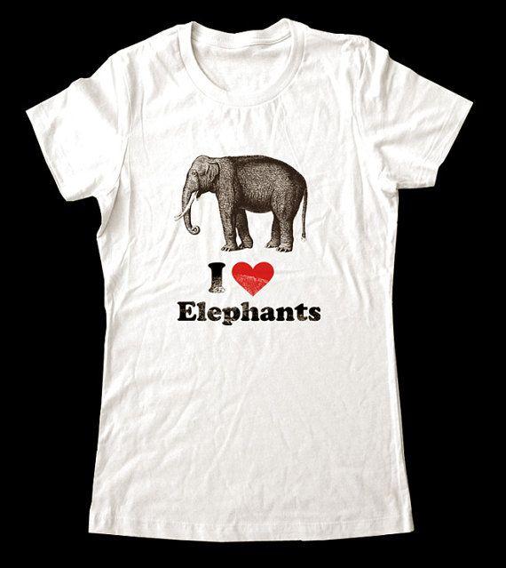 I Love Heart Elephants Kids T-Shirt