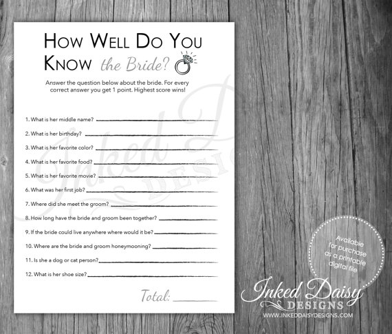 INSTANT DOWNLOAD How Well Do You Know The BRIDE Quiz