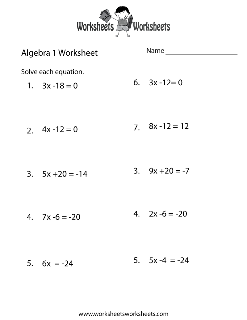 Algebra 1 Practice Worksheet Printable – Math Worksheets Algebra