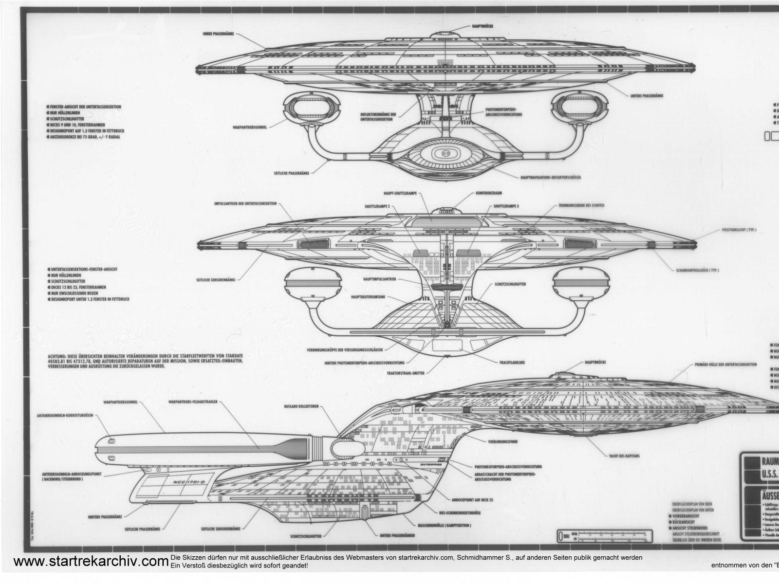 Schematic Of U S S Enterprise Ncc D Star Trek