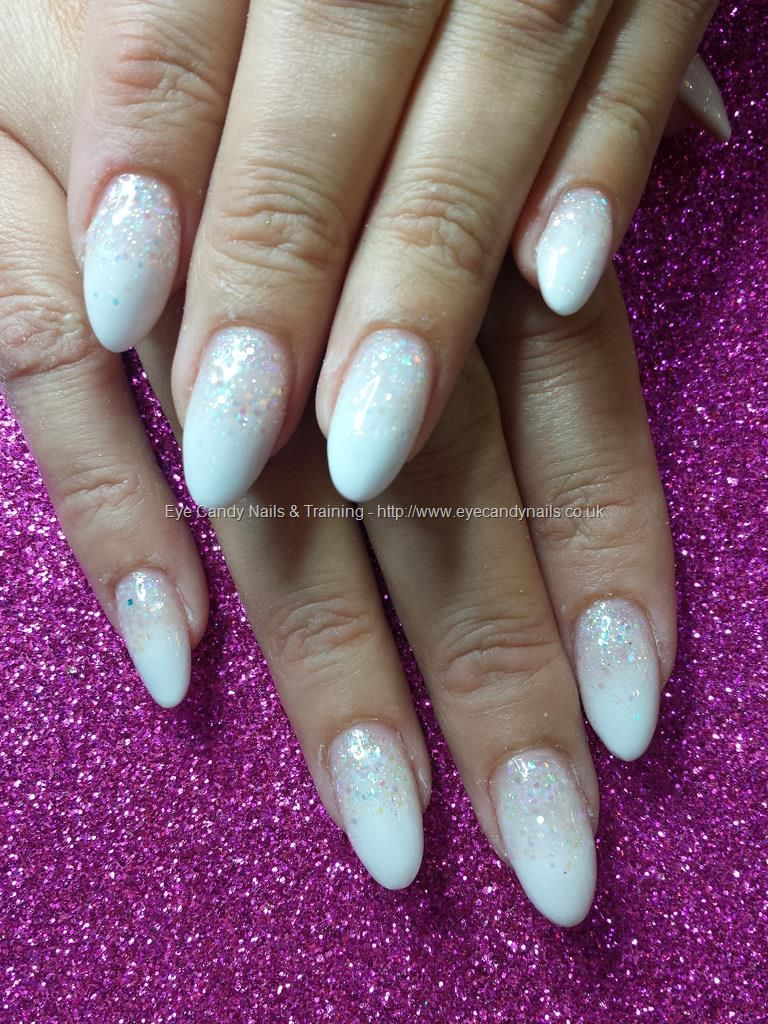 White Acrylic Fade With Glitter Fade Acrylic Nail Courses Glitter Gel Nails White Acrylic Nails With Glitter
