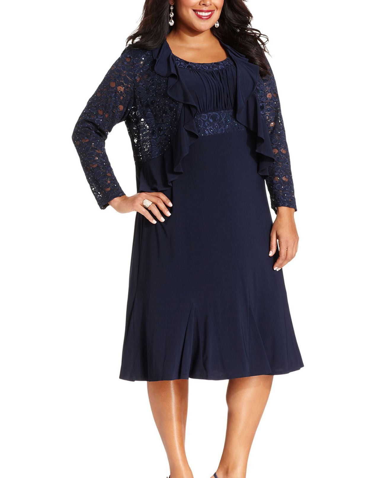 RM Richards Plus Size Lace Sequin Navy Blue Dress - Navy/Royal | for ...