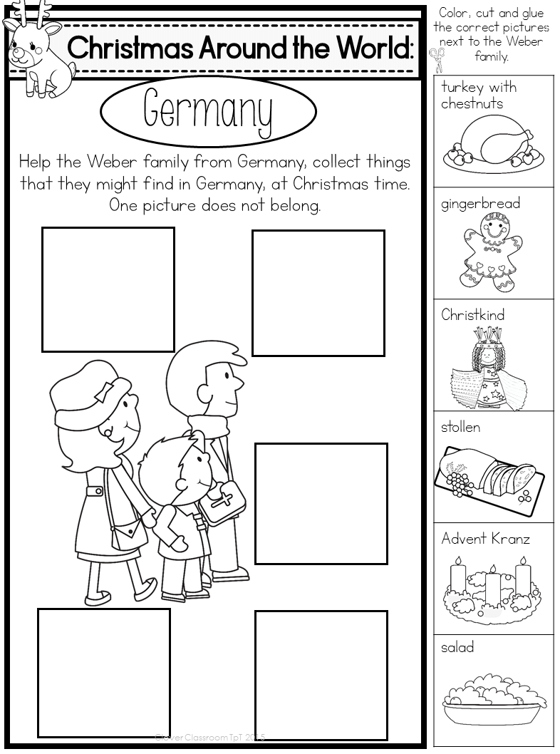 Christmas Around The World Worksheets For Kindergarten