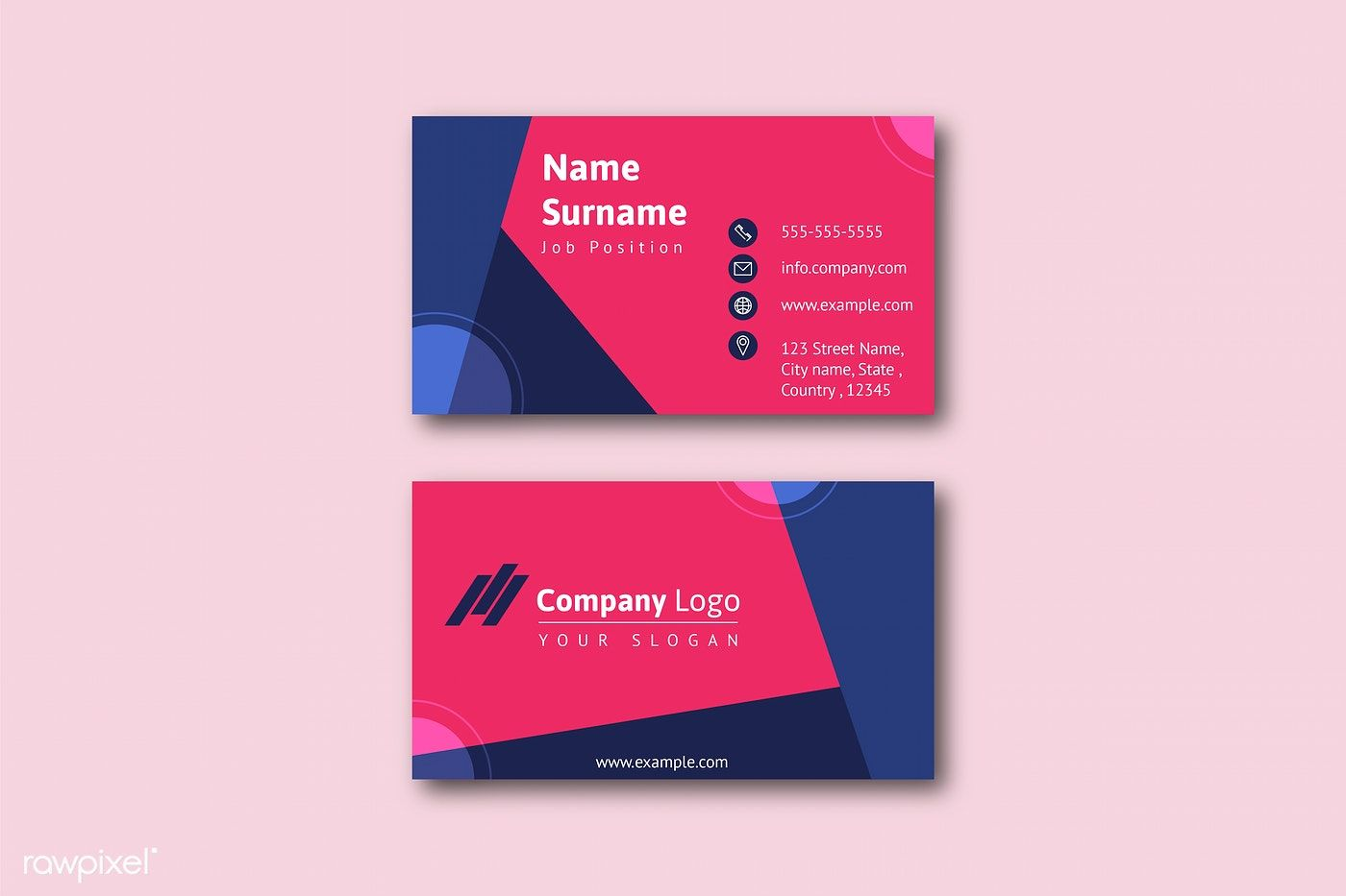 Business Card Template Front And Back Vector Free Image By Rawpixel Com Jan Modern Business Cards Business Card Texture Free Business Card Templates