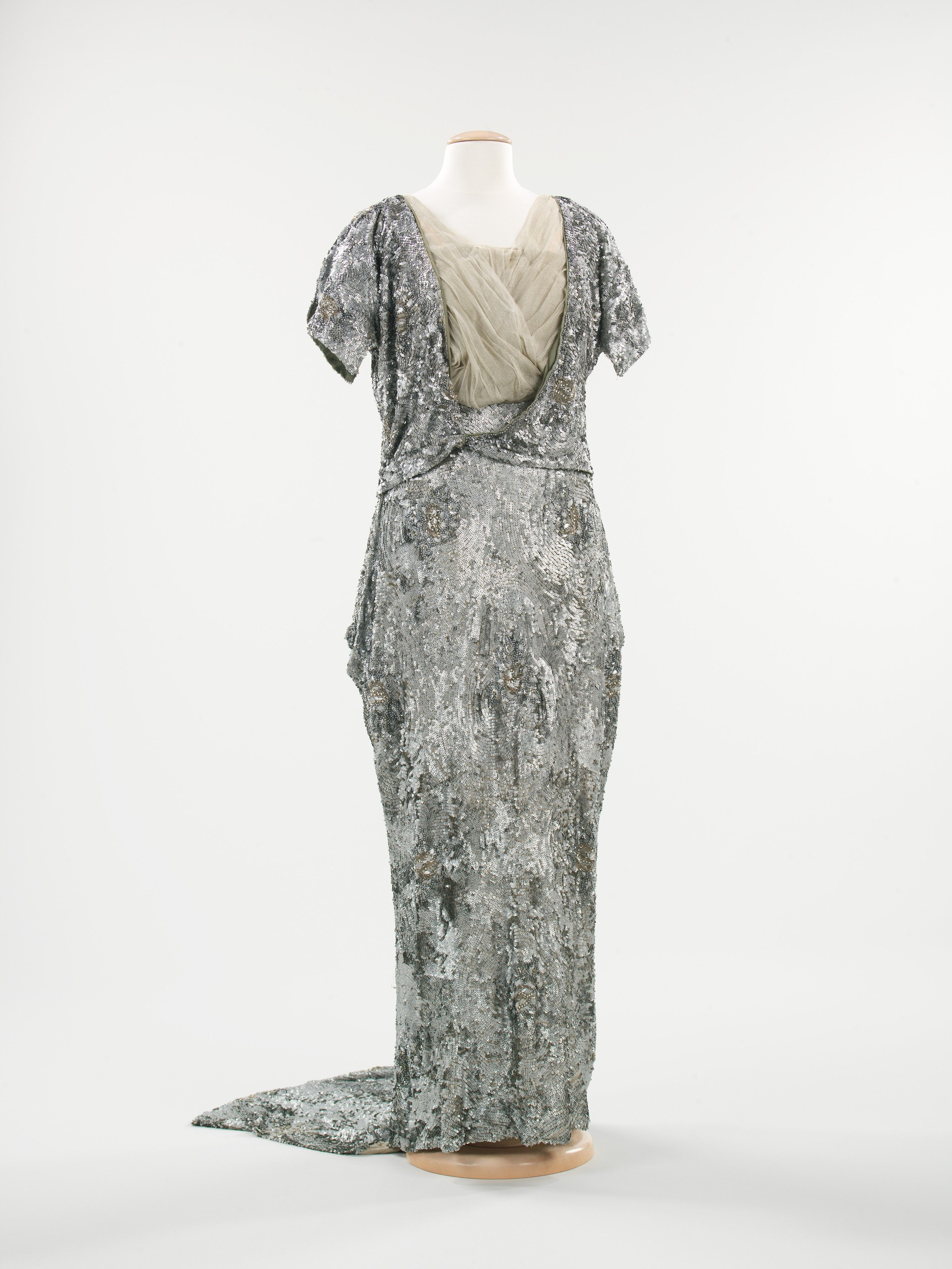 Evening Dress: ca. 1915, American, silk, metallic sequins ...