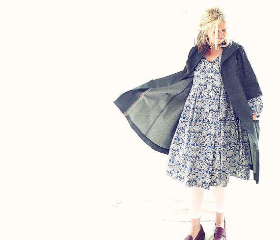Blue/Navy/White Liberty of London Cotton Wrap Dress di 13threads