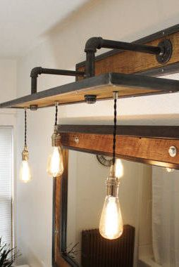 Photo of Rustic industrial light – steel and barn wood vanity light with light bulbs # L1203