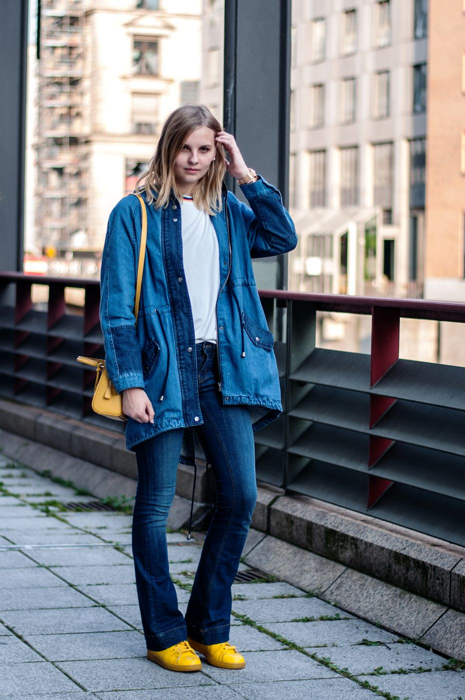 denim parka, jeans, blue jeans, white shirt, pullover, sweater ...