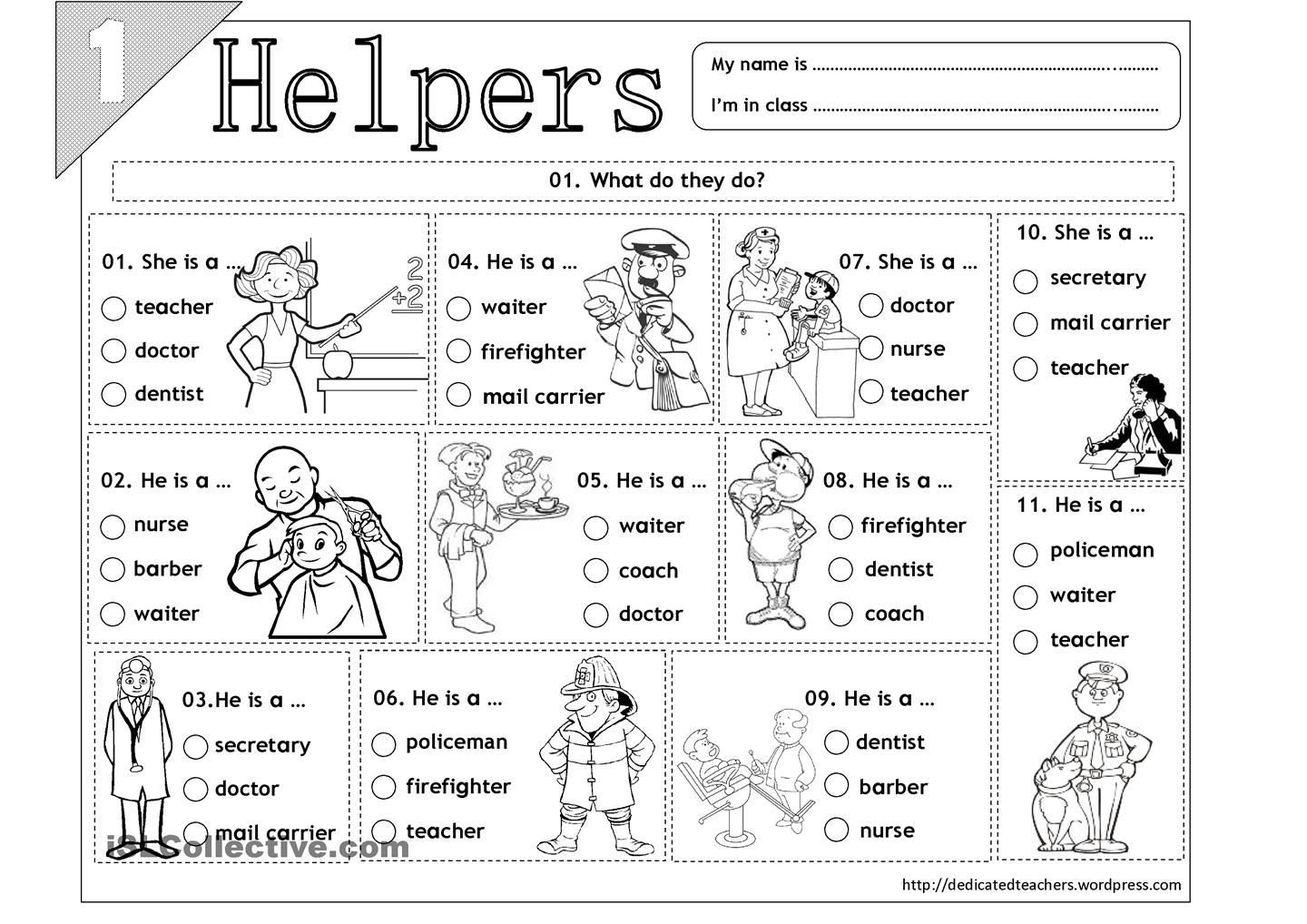 small resolution of Helpers - 01   Community helpers worksheets