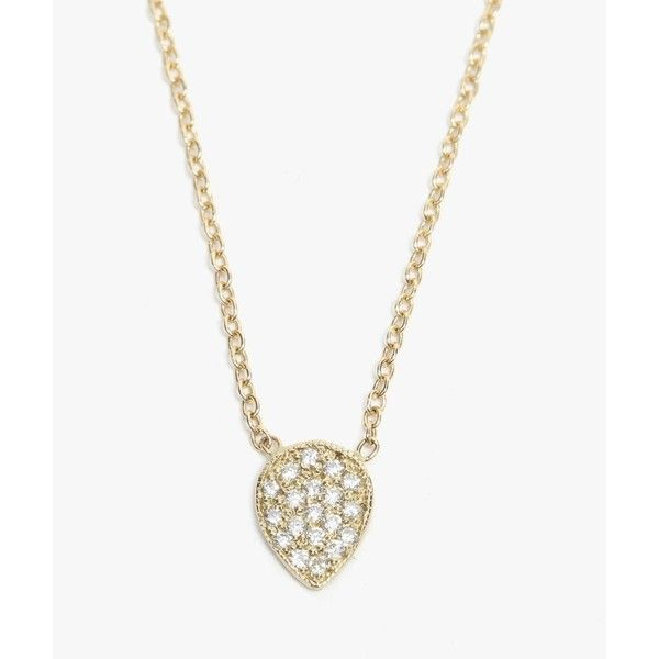 Ariel Gordon Pave Diamond Teardrop Necklace ($880) ❤ liked on Polyvore featuring jewelry, necklaces, ariel gordon jewelry, cable chain necklace, 14k necklace, multi layer necklace and teardrop necklace