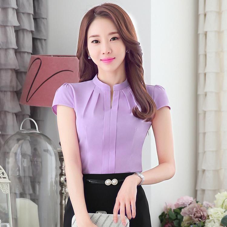2016 Summer New Dressed Shirt Women work Short Sleeve Stand Collar ...