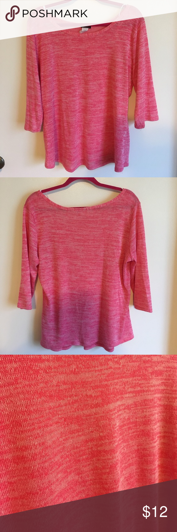 Thin Pink 3/4 Sleeved Sweater | Scoop neck, Boutique and Customer ...