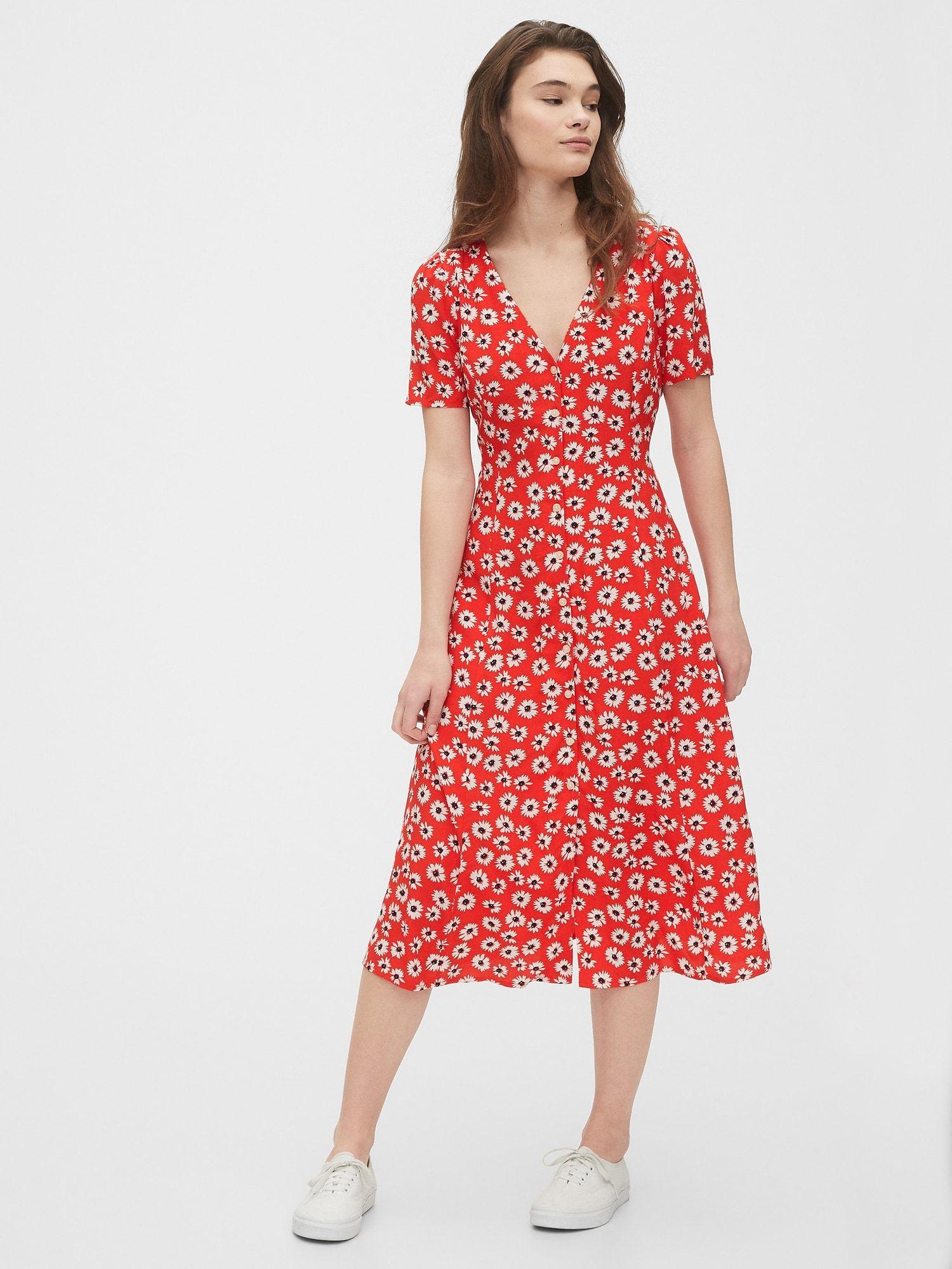 Gap Button Front Midi Dress Red Floral Print Midi Dress Casual Red Midi Dress Floral Dress Casual [ 2000 x 1500 Pixel ]