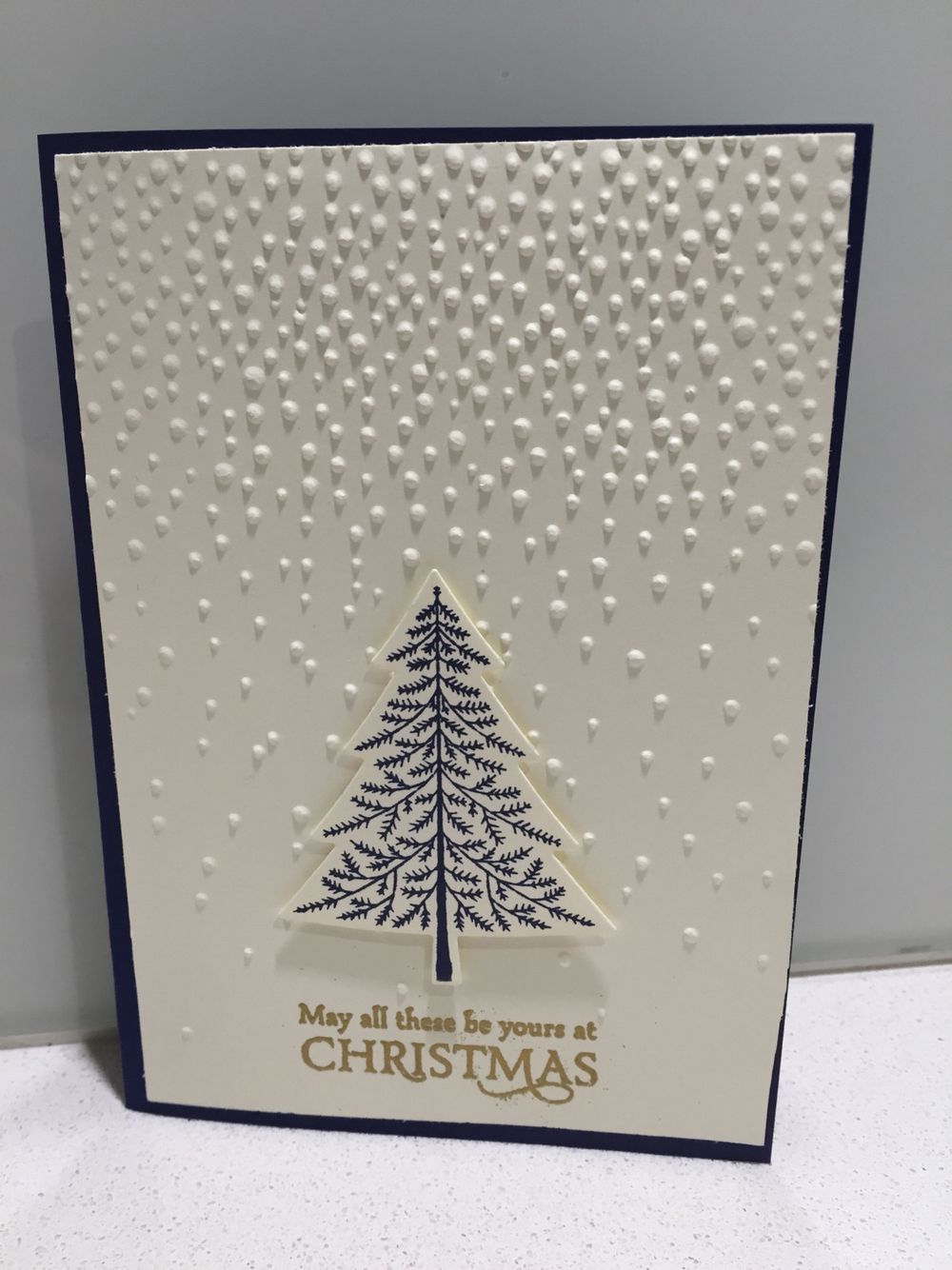 stampin up elegant christmas card using softly falling embossing folder with peaceful pines and versatile christmas stamp sets with coordinating night - Elegant Christmas Cards