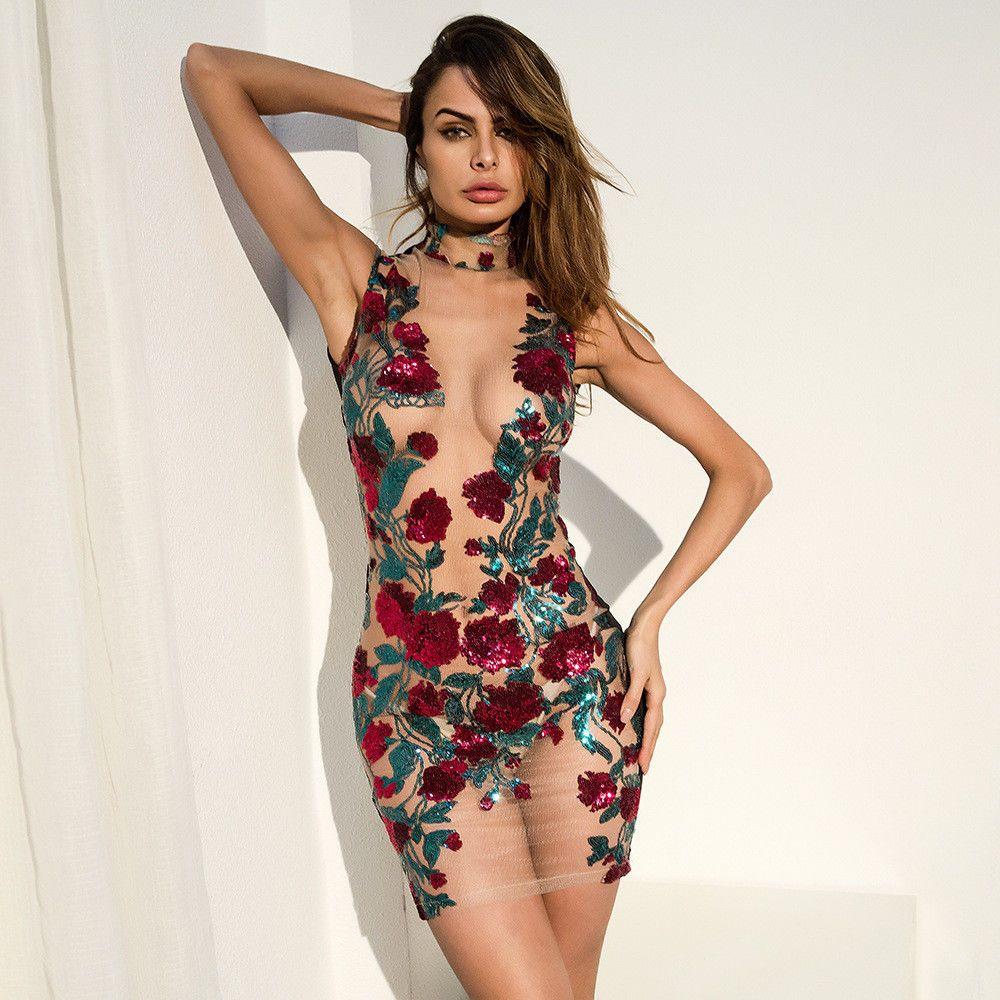 Vestidos De Fiesta Floral Mesh Ropa De Moda Para  Mujer  Bodycon Club Sexy  2018  TiendaModa  BodyconDress  PartyCocktail  ropa  moda  mujer  sexy  Ebay 8b49babd8826