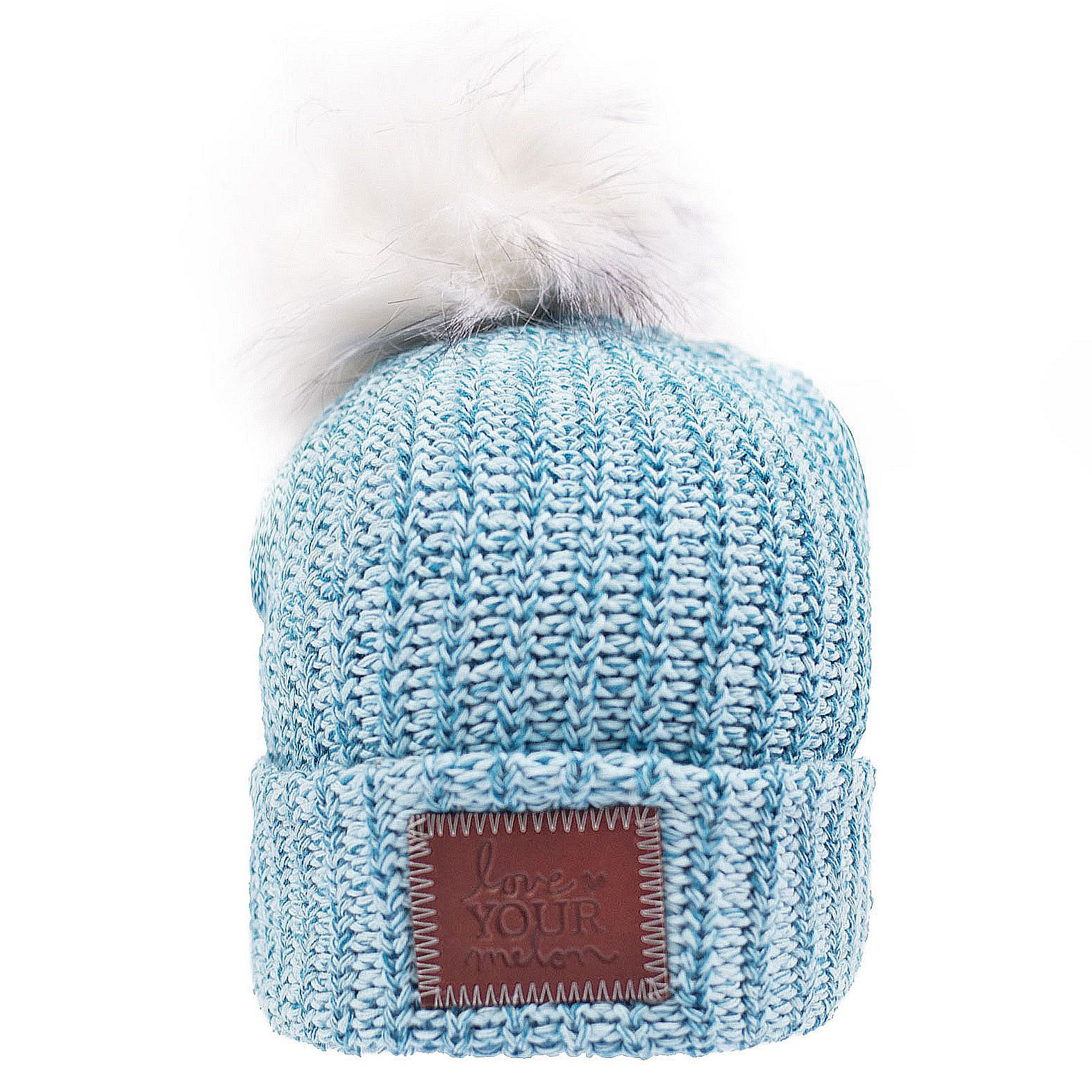 737a66104ad Light Blue and Teal Speckled Pom Beanie – Love Your Melon...love this color!