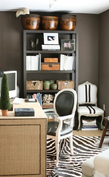 I Could See Us Doing This To Display Our Stuff From South Africa Chic Taupe Office Design With Rich Taupe Gray Wall Deco Bureau Mobilier De Salon Tapis Zebre