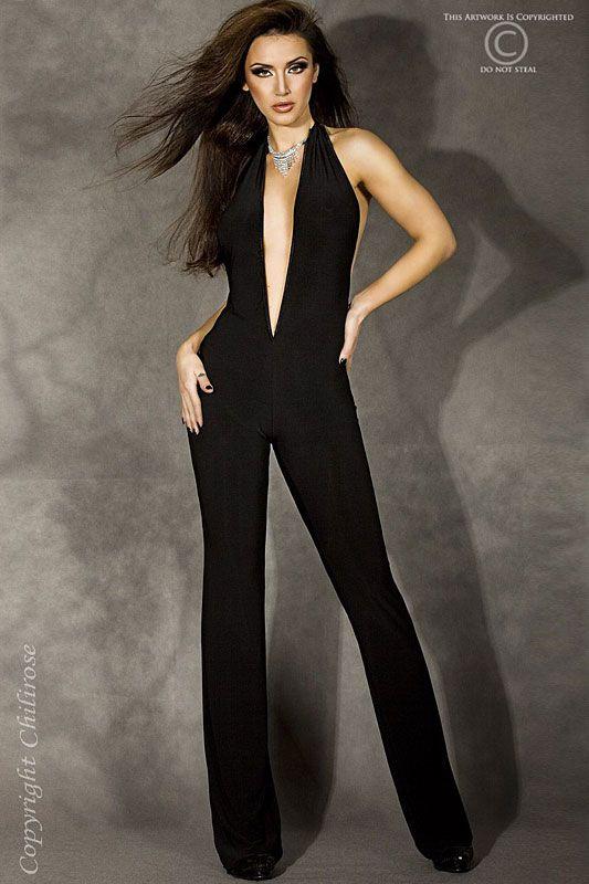 5ac214298b14 Zwarte jumpsuit open rug Sexy zwarte jumpsuit met open rug en lage V-hals