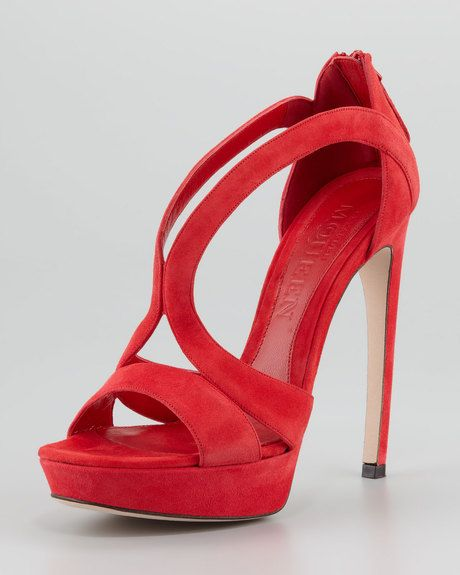 ALEXANDER MCQUEEN  Red Doublearched Suede Sandal